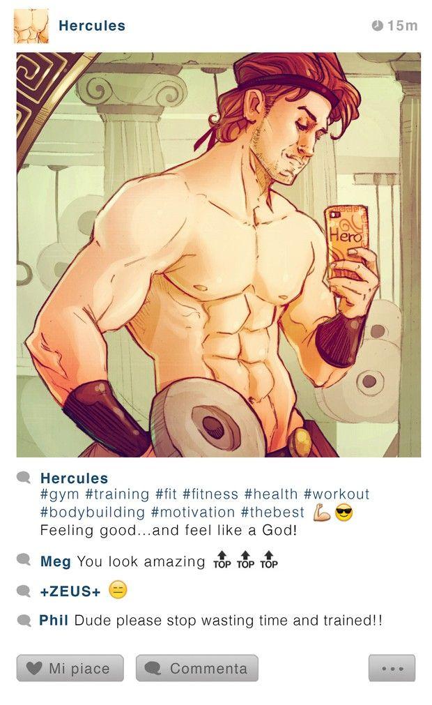 Hércules posa para selfie durante malhação na academia. Ilustração faz parte da série 'Selfie Fables' (Foto: Divulgação/Simona Bonafini)
