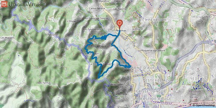 [Alpes-Maritimes] Pégomas - Tanneron est Départ Pégomas centre, place du Logis. Montée du Tanneron, puis piste depuis le centre équestre. La piste devient plate à flanc de colline, afin de profiter de la vue sur la mer. Puis, c'est une bonne descente, qui devient vertigineuse mais heureusement sur une partie goudronnée. Retour par la route de la Fénerie.
