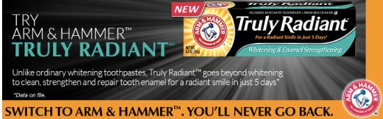 Hurry and get a FREE Arm & Hammer Truly Radiant Toothpaste Sample!  Click the link below to get all of the details  ► http://www.thecouponingcouple.com/free-arm-hammer-truly-radiant-toothpaste-sample/