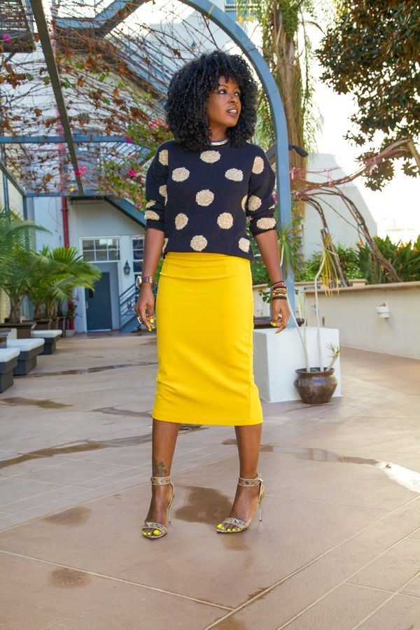 Polka Dot Sweater + Midi Pencil Skirt | Style Pantry