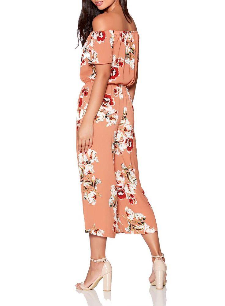 Womens *Quiz Terracotta and Cream Jumpsuit- Terracotta
