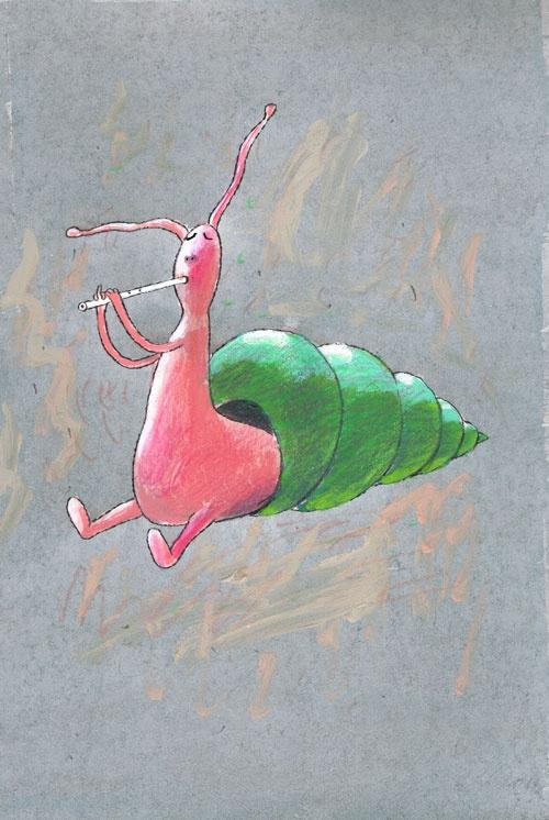 Titel: thema- Dieren rond de woning - Slak  Kunstenaar: Aleksandr Vakhrmeev  Afm.: 20 br. x 28 cm hg.   Techniek: waterverf op papier. Collectie Postersquare.
