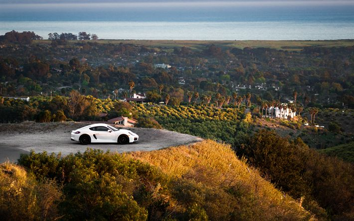 Download wallpapers Porsche Cayman GTS, 4k, supercars, 2017 cars, Santa Barbara, Porsche