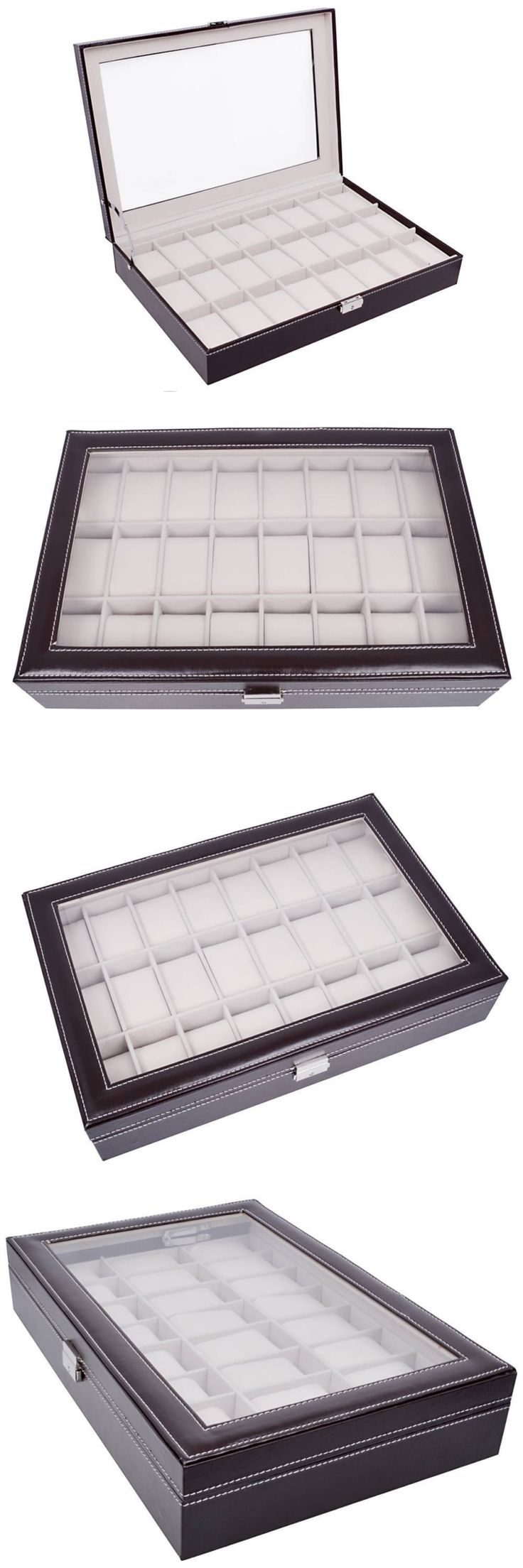 Watch 168164: Tms Large Brown Leather 24 Grid Watch Display Case Glass Top Jewelry Box Organiz BUY IT NOW ONLY: $35.89