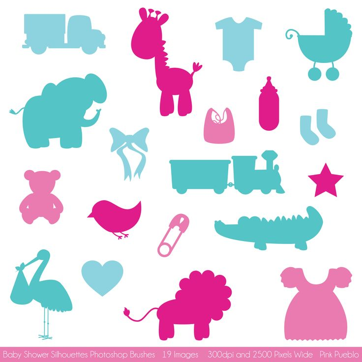 Baby Shower Silhouettes Brushes by PinkPueblo on Creative Market