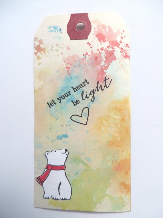 8 Polar Bear Gift Tags Hand Colored and Hand by MouseGarden