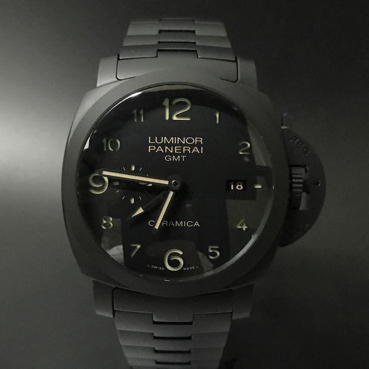 Panerai Pam 438 Luminor Marina GMT Ceramic Tuttonero (2015). #watchporn #watchmania #wristwatch #watchoftheday #timepiece #secondhand #instawatch #secondoriginalwatch #jamtanganseken #preownedwatch #luxurywatch. www.mulialegacy.com
