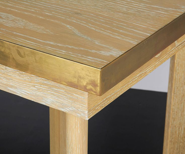 Cersed Oak And Brass Desk Or Dining Table Image 3