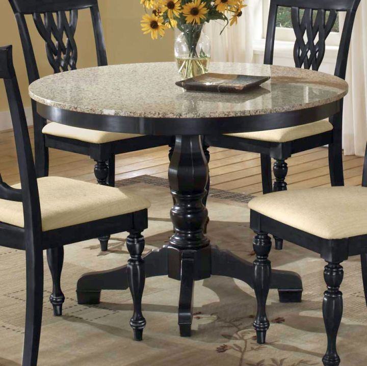 Round Granite Dining Room Table With Clic Spindle Leg