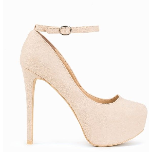 Nly Shoes Platform Ankle Strap Pump (2,510 DOP) ❤ liked on Polyvore featuring shoes, pumps, beige, party shoes, womens-fashion, round cap, high heel shoes, beige ankle strap pumps, ankle strap platform pumps and ankle wrap pumps