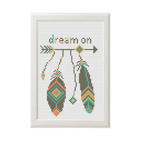 Dream on citazione freccia azteco modello di AnimalsCrossStitch