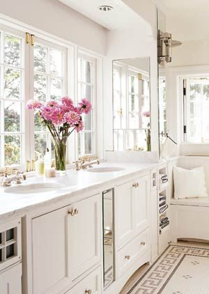 Love the marble countertop and the floor tile.
