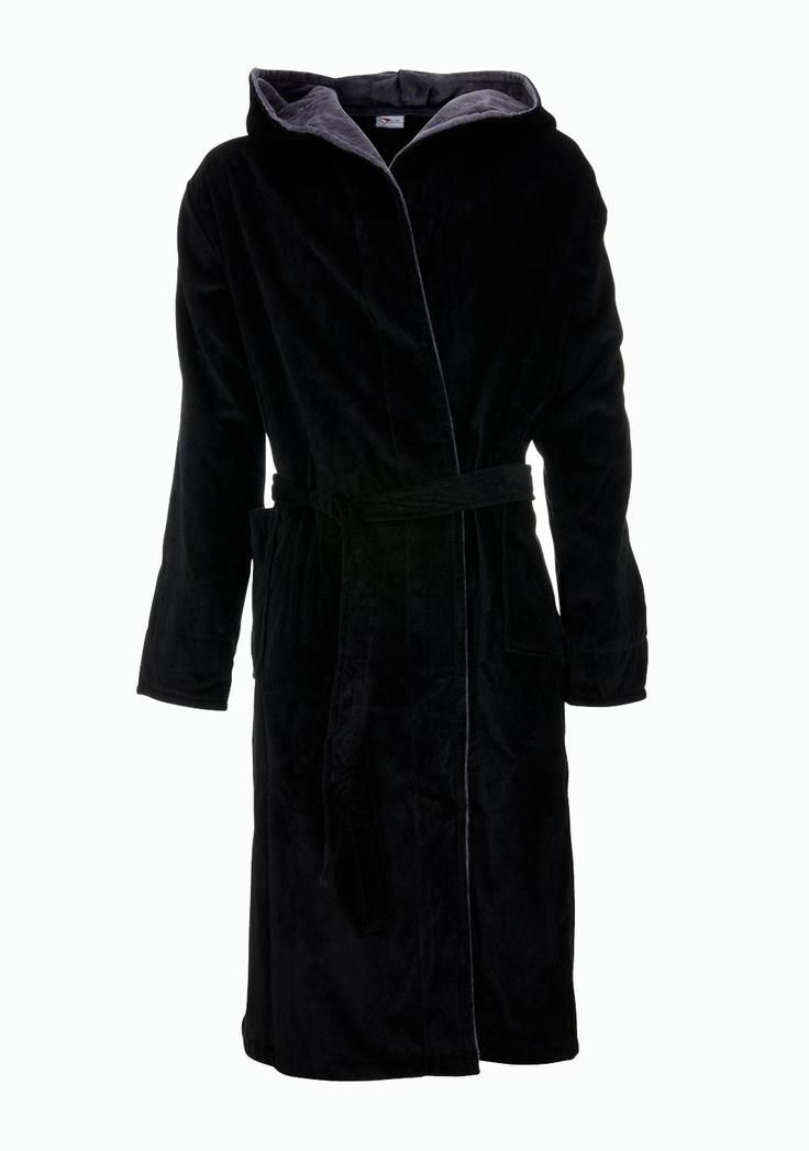 Zwarte badjas - velours badjas