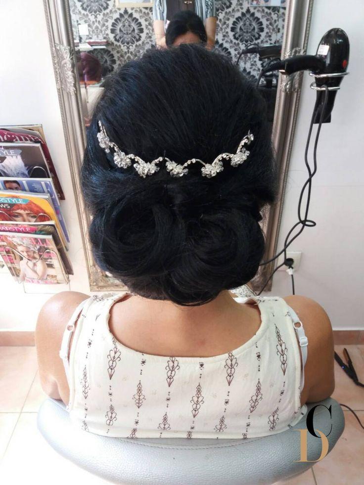 Elegant low chignon bridal upstyle by Draženka Marelja, Hair salon Capelli; hair hairstyle upstyle bride bridal hair bridal updo bridal upstyle bridal hair ideas wedding hair for long hair accessory black hair