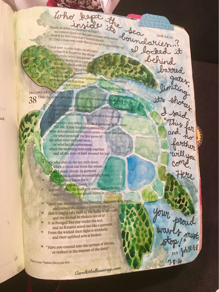 Job 38:8-11, July 8, 2016 carol@belleauway.com, watercolor, Illustrated faith pen, Bible Art Journaling, Journaling Bible, illustrated faith