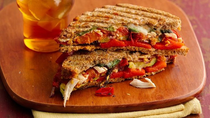 Healthy Chicken and Roasted Vegetable Paninis - With succulent roasted ...