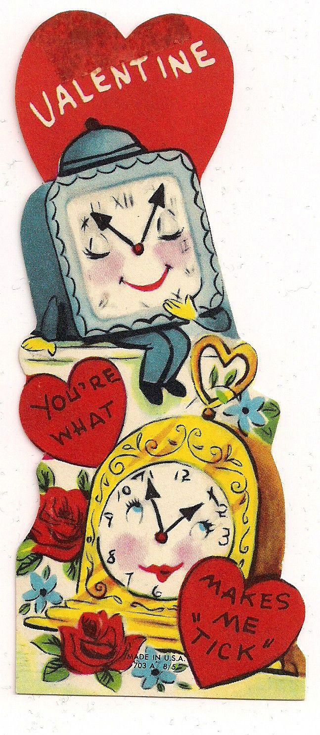 "Anthropomorphic Clocks Say ""Youre What Makes Me Tick"" Vtg Unused Valentine Card | eBay"