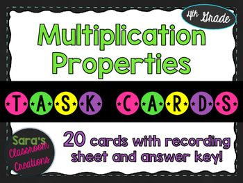 This task cards set contains 20 task cards to help your students practice recognizing and using multiplication properties (the commutative, identity, and zero properties of multiplication). There are a variety of multiple choice questions, short answer questions, and problem solving questions.These task cards ask students to:-Complete an equation correctly which relates to one of the multiplication properties-Identify the correct multiplication property given an equation (multiple choice…