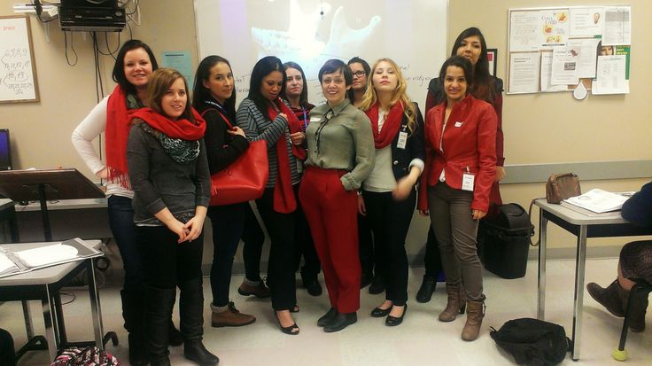 Medix College - Kitchener - Red Scarf Day - Dental Assistant class fundraising for Mary's Place