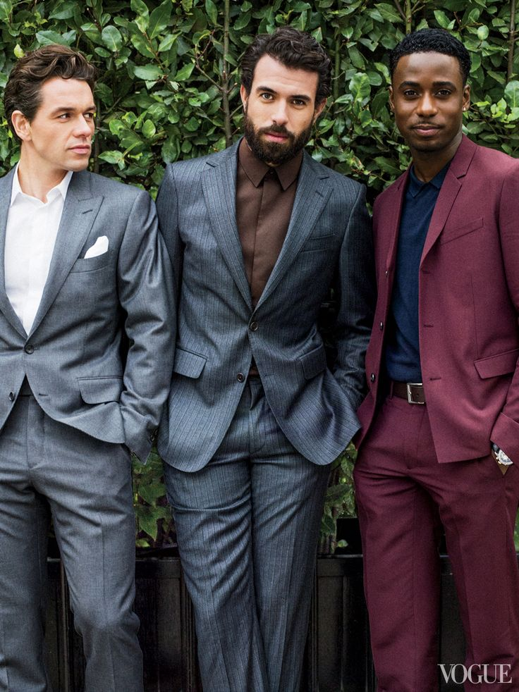 SWOOOOOOOOON  From left: Julian Ovenden In Tom Ford, Tom Cullen in Salvatore Ferragamo, and Gary Carr in Dior Homme.: