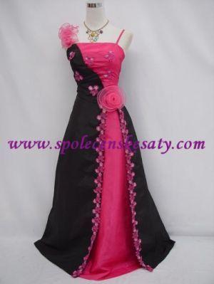 Černé růžové dlouhé plesové svatební společenské šaty 48-50 pro plnoštíhlé č. 4108