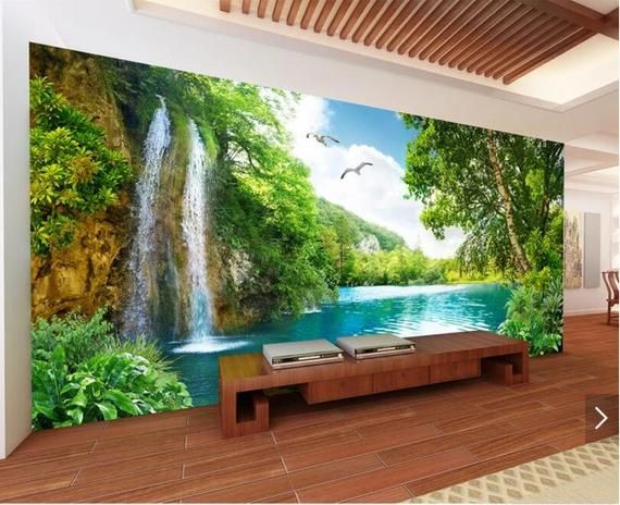 Waterfall Wallpaper Mural Hand Painting Green Tree Lake Wall Mural Decal Art Wall Decor Murals Living Room Printed Photo Wall Papers Roll