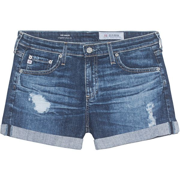 AG Jeans The Hailey 11 Years Sail Away Blue // Destroyed denim shorts found on Polyvore featuring shorts, pants, blue denim shorts, low rise shorts, ripped shorts, distressed shorts and ripped jean shorts