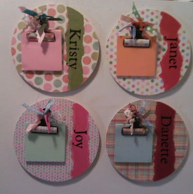 Personalized magnetic note holder (wood circles from Michaels & clips)