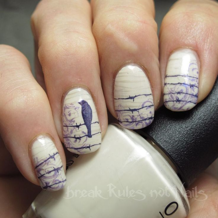 A silent bird nail art by Michelle - Nailpolis: Museum of Nail Art