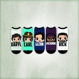 "The Walking Dead ""Chibi"" Women's Low Cut Socks (5-Pack) Oh my goodness!! I want these sooo bad!!"