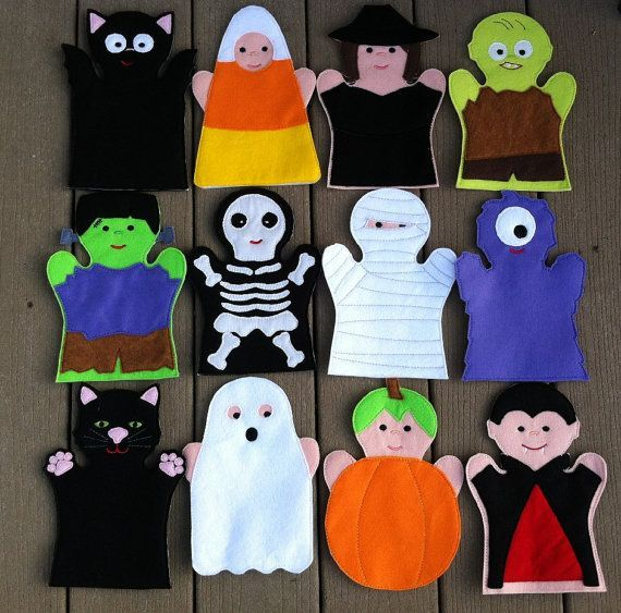 Halloween Hand Puppet Set  KiD SiZe by ThatsSewPersonal on Etsy, $72.00