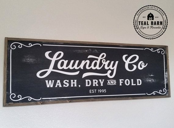 LAUNDRY Co Sign Wash Dry and Fold   Personalized by TealBarnSigns