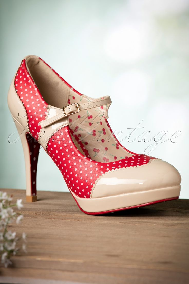 Ohhh... wow! These50s Mary Jane Pumpsare so cute!   These pumps are true beauties trough the combination of nude coloured faux patent leather with jagged edges and red faux leather with white polkadots. Oh and the fit? Like slippers, so once you put them on you'll never want to take them off again. We are in love! And you?   Adjustable ankle strap Lined with cherry print Comfy footbed Platform Deep red outsole with polkadots and anti-skid ridges