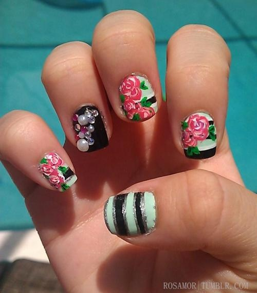 PREPPY BITCH NAILS: Nail Designs, Roses, Bitch Nails, Nail Art