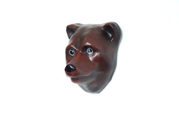 Wall mount animal, grizzly bear, animal head (Macheanimal)