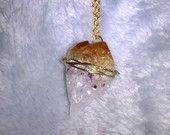 Dragon Tooth Citrine Quartz Wire Wrapped Necklace