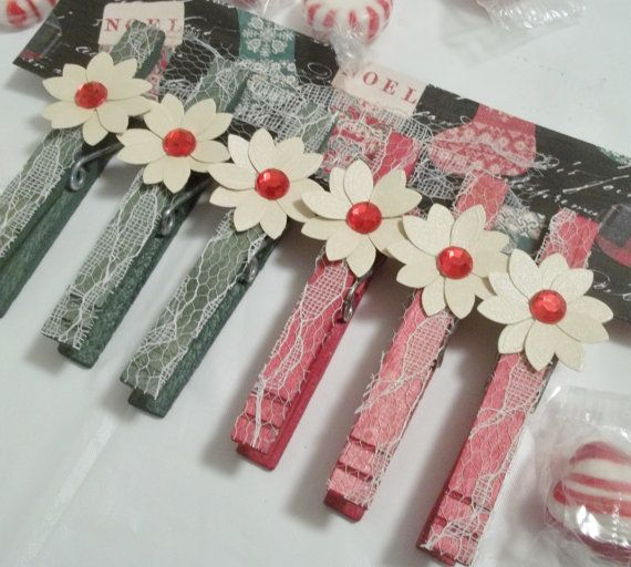 Christmas Decorative Clothespins, with Poinsettia accent, Traditional Red and Green, Gift Toppers, Stocking Stuffers
