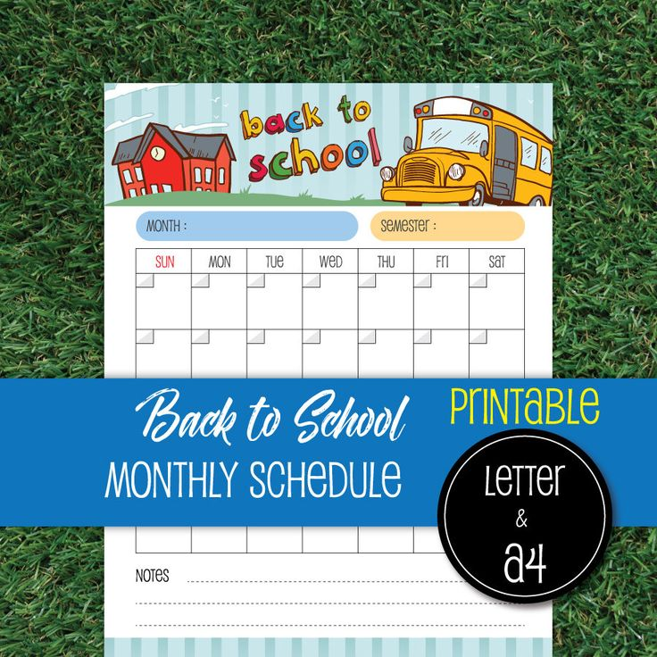 Monthly Schedule Back to School, Letter & A4 Printable, Back to School Agenda #back001 by PhuketLeatherBeach on Etsy https://www.etsy.com/listing/574689562/monthly-schedule-back-to-school-letter