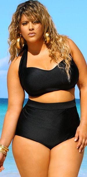Oooh, If I looked like this in this suit, I'd wear it. The top would be cute, but the bottoms wouldn't work so well for notsocurvy me.   high waisted curvy bikini #plussize
