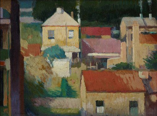 An image of The yellow house by Roland Wakelin