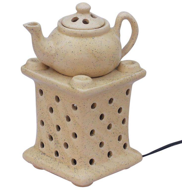 Wholesale Ceramic Tea-Pot Shaped Electric Essential Oil Diffuser - Bulk Buy Natural Beige Aromatherapy Electric Wax Melt / Tart Warmer - Essential Fragrance Accessories