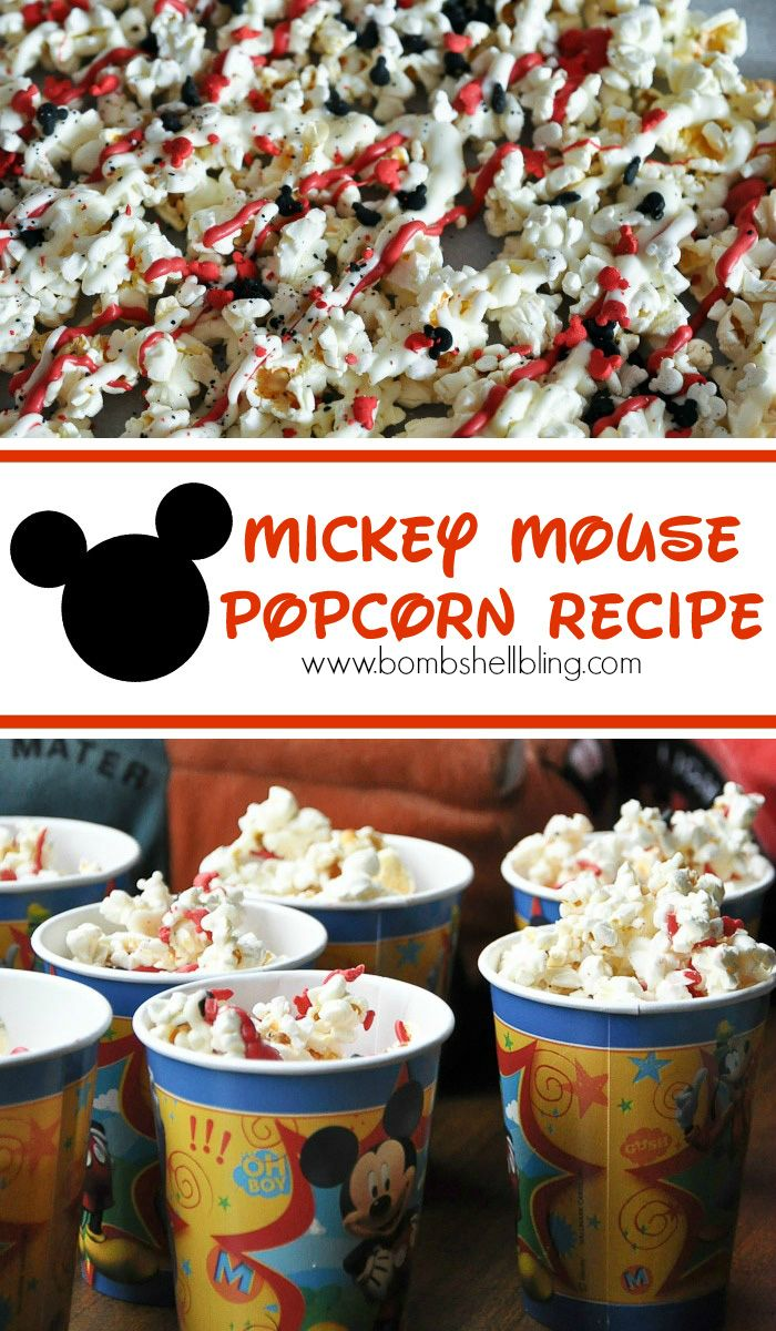 I love this cute Mickey Mouse inspired popcorn!  Perfect for a Disney Party!! #mickeymouse #disney #disneyside