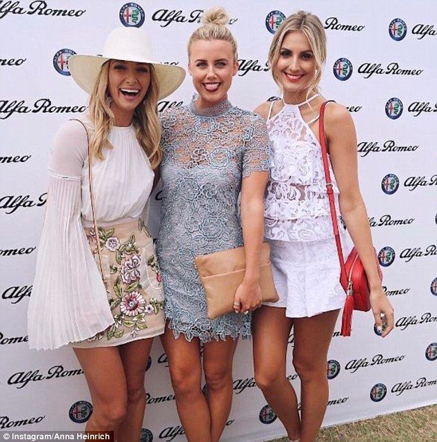 Gal pals: The blonde stunner was able to catch-up with gal pals Anna Heinrich (left) and The Loop presenter Olivia Phyland (centre) at the star-studded event