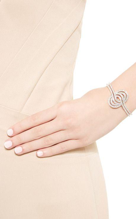 White Diamond Cuff In 18K White Gold by Lily Gabriella for Preorder on Moda Operandi