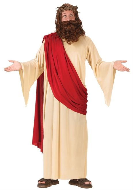 Jesus Costume - This Chirstmas bring Jesus to life with this awesome Jesus Adult Costume. The costume is a long beige robe that ties behind the neck. It is a made of a nylon like material and has an attached red sash for a regal king of men look. This costume also comes with a wig and beard set. The wig is long brown and wavy.The beard and mustache are attached and stays on your face with an elastic that fits behind the head. #christmas #calgary #yyc #costume #mens
