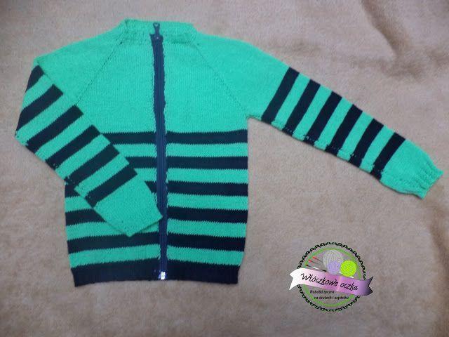 knitting cardigan in stripes for boy  swetar na drutach w paski dla chłopca