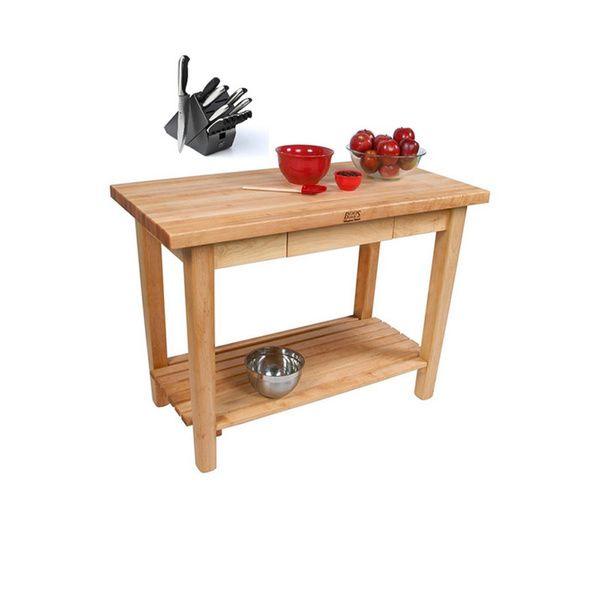 John Boos 36-inch x 24-inch Country Work Table / Shelf/ Utensil Drawer with Bonus 13 -piece Henckels Knife Set