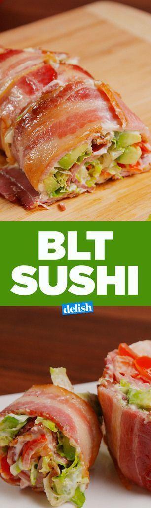 BLT Sushi INGREDIENTS 10 slices bacon 2 tbsp healthy mayo 1 c. chopped tomatoes 1 c. shredded romaine kosher salt Freshly ground black pepper: Give this