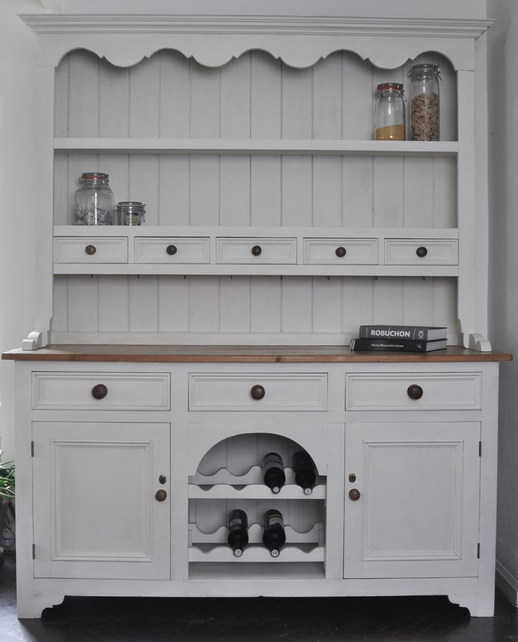 Welsh Dresser handpainted in Annie Sloan 'Old White' chalk paint, waxed and buffed