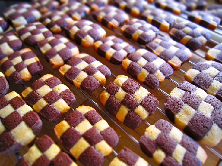 Galletas ajedrez de vainilla y chocolate